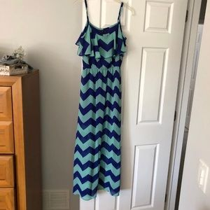 Blue and teal chevron dress .. never worn!!